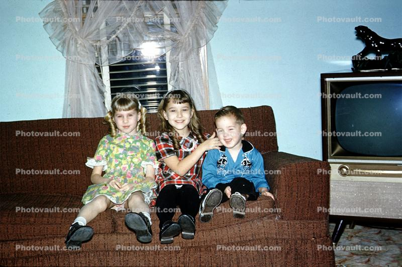 Brother, Sisters, Siblings, Girls, Boy, Television, Decatur Illinois, December 1962, 1960s