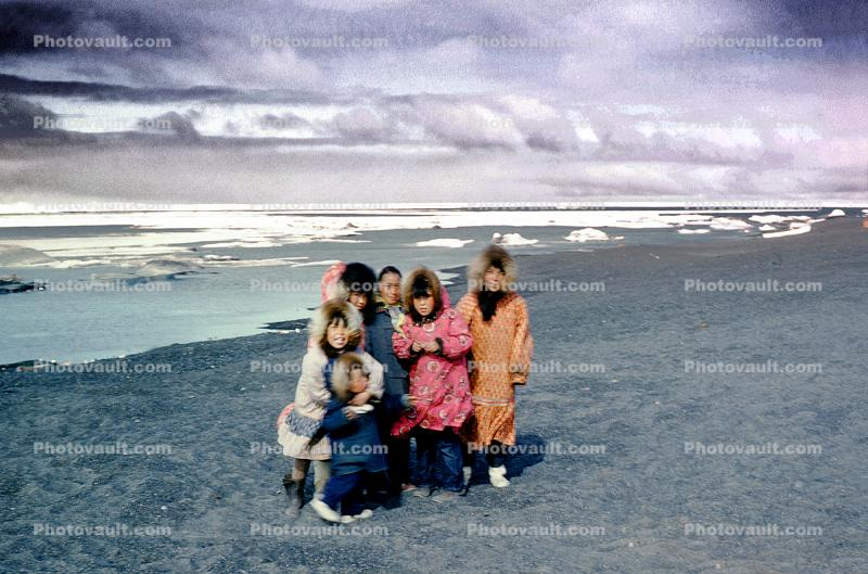 Eskimo, Windy, Windblown, beach, sand, Boys, Girls, 1950s