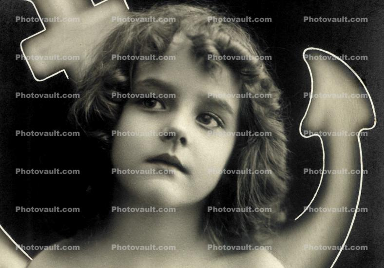 1920's, Face of a Girl, Devils tail, christian cross, RPPC