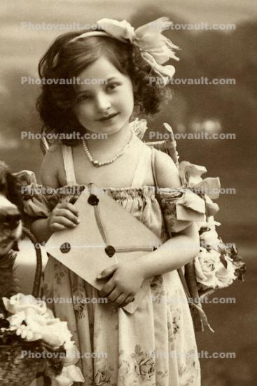 Cute Girl, RPPC, Ribbon, Basket, 1910's