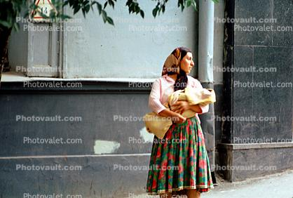 Woman, Dress, Female, Gypsy, Swaddled Baby