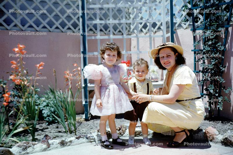 Easter Sunday, Dress, Brother, Sister, Siblings, Daughter, Son, Backyard, 1950's