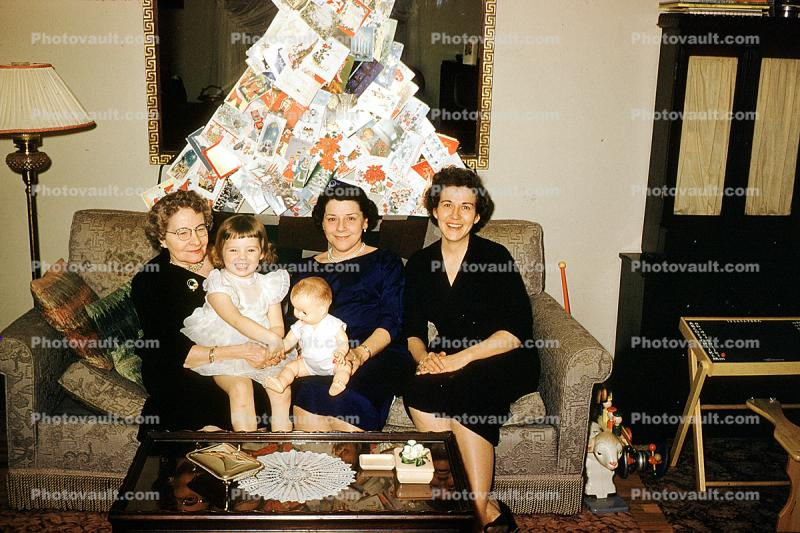 Woman, Grandaughter, Grandmother, Smiles, Couch, Coffee Table, Lamp, 1940s