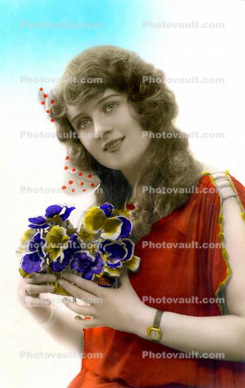 Woman with Flowers, Smiles, RPPC, 1920's