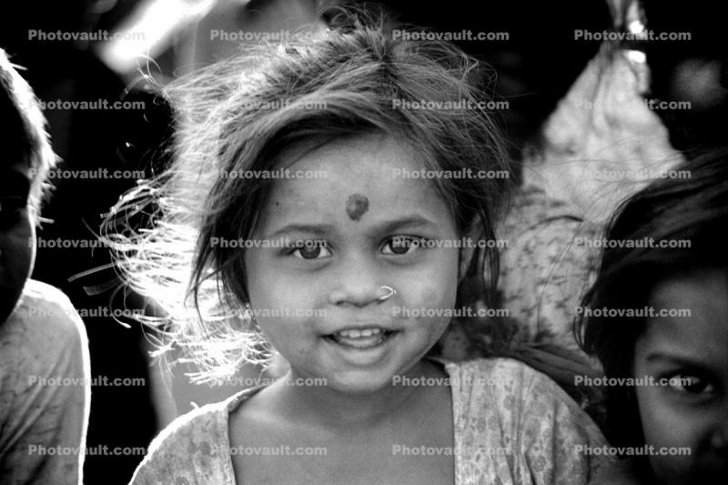 Girl, face, smiles, slum, Mumbai, India