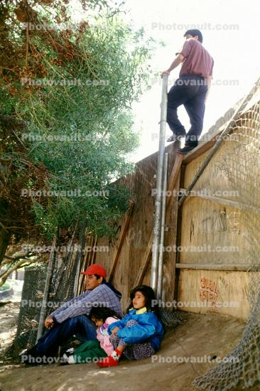Children, ladder, man, Illegal immigrant, Fence, Wall