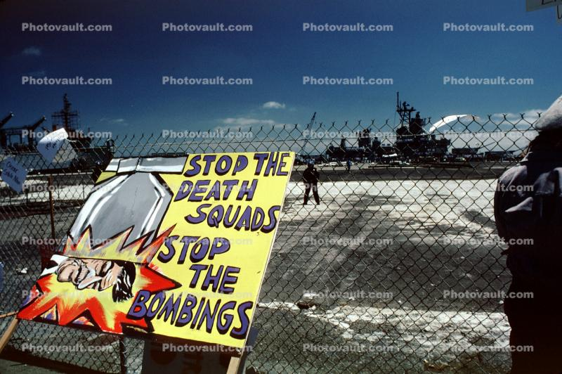 Stop the Death Squads, Stop the Bombings placard