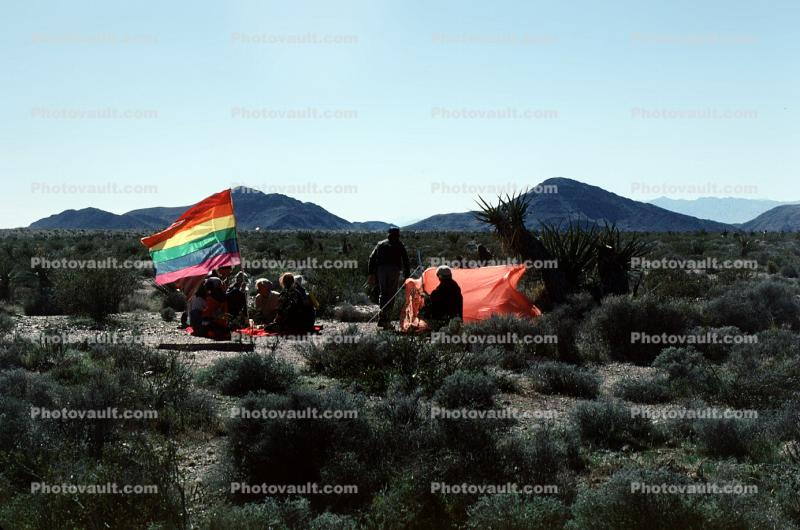 Campers, Tent, desert, shrub, Gay Freedom Flag, Nevada Test Site