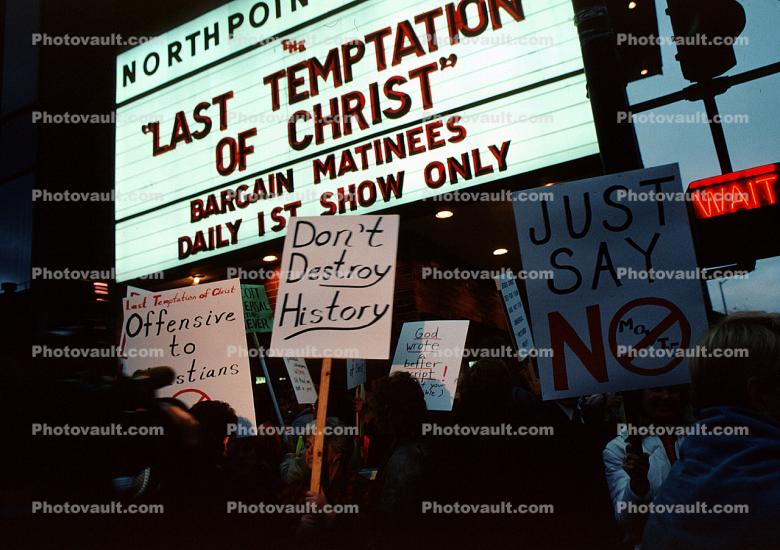 Last Temptation of Christ, North Point Theatre, marquee, Last Temptation of Christ movie, protest