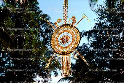 Penjors, bamboo & palm leaf flags, Gods Eye, Dreamcatcher
