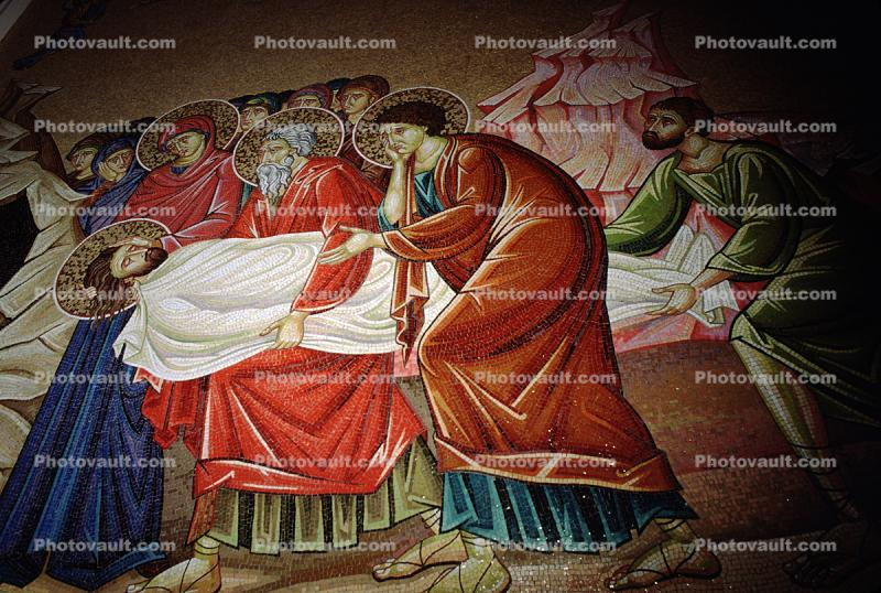 Wall Tile Mosaic Mural, Christ's body being prepared for burial, The Church of the Holy Sepulchre