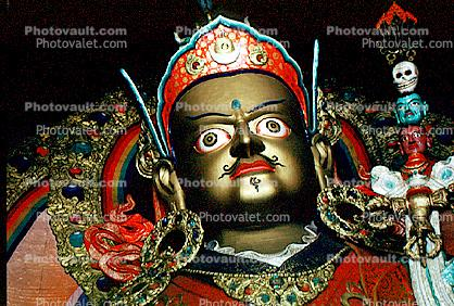 Golden Buddha, Buddhist, Face, Crown, Jewels, Eyes, chin, lips, nose, skull, Ladakh, Jammu, Kashmir