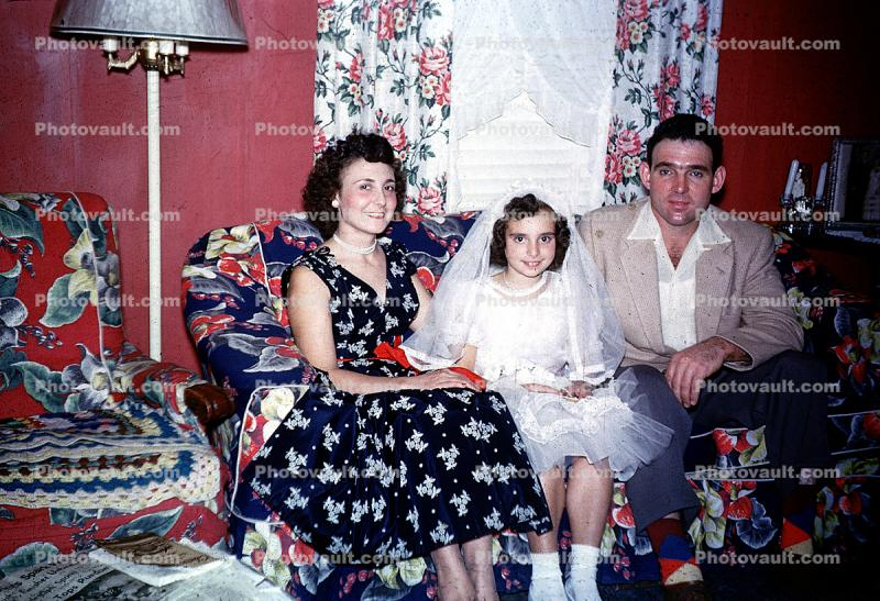 Mother, Daughter, Father, girl, dress, formal, First Holy Communion, 1940's
