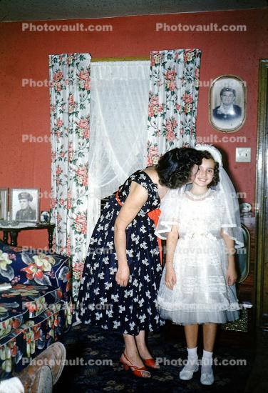 First Holy Communion, girl, dresses, formal, 1940s