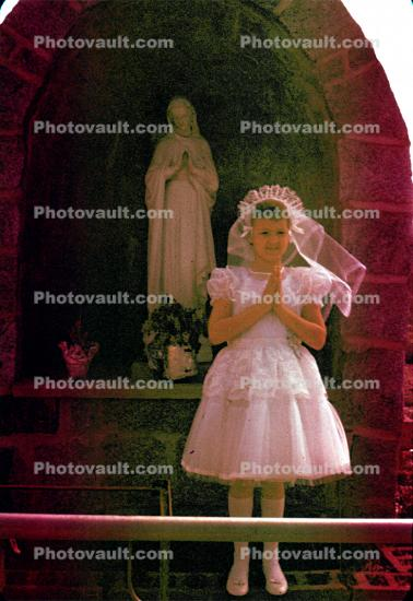 First Holy Communion, Catholic, Girl, dress, formal, 1950s