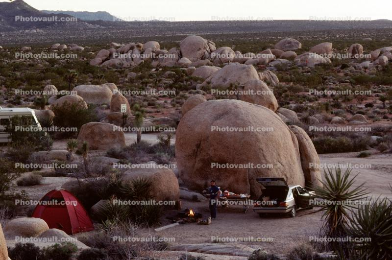 Campsite, Camping, boulders, Car, Joshua Tree National Monument