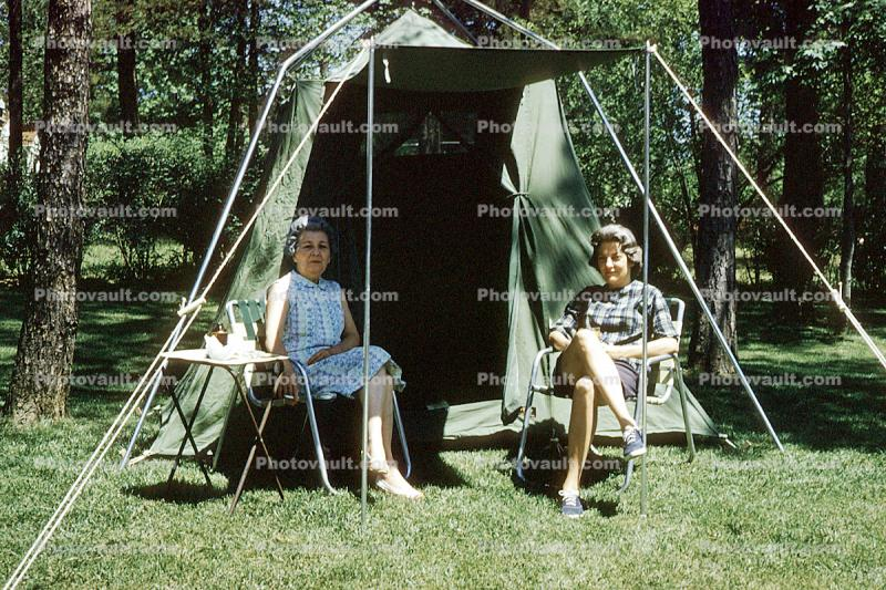 Girl, Female, Feminine, woman, lady, Adult, Person, Tent, Chairs, Lynn, Mrs G, May 1962, 1960s