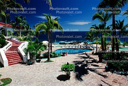 Swimming Pool, Palm Trees, Steps, Stairs, Ocean, Hotel