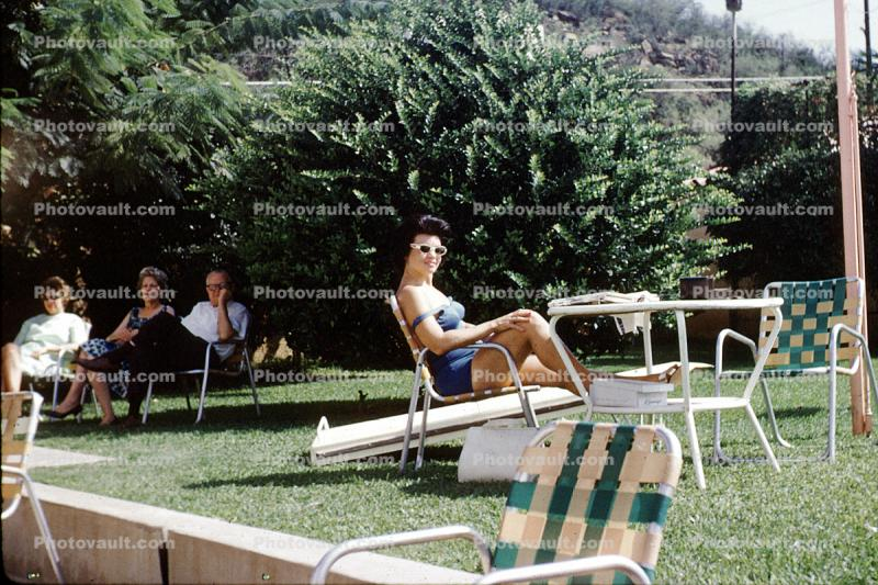 Woman, tanning, chair, resting, glasses, 1960s
