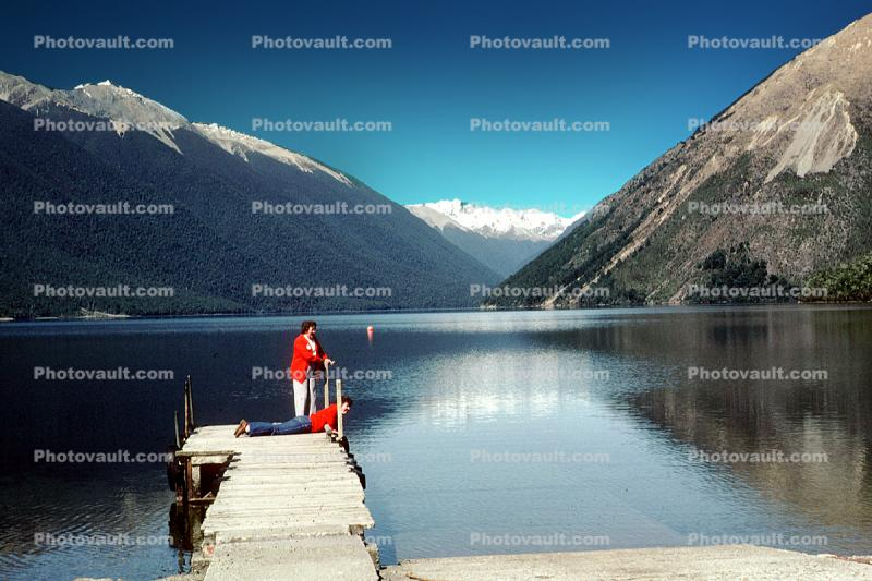 1980sDock, Pier, Nelson Lakes, mountains, 1984, 1980s