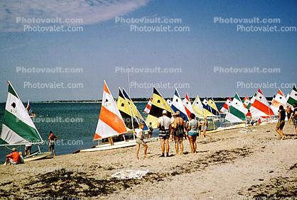 Beach, Sand, People, Crowded, sunfish sailboats