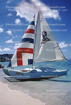 Catamaran, Beach, water, Sails, Clouds