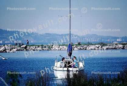 San Mateo Harbor, Sailboat, Coyote Point County Recreation Area, San Mateo, jetty