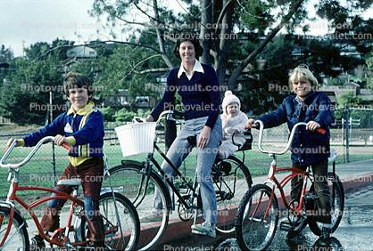 Family out on Bicycles, Tiburon, 1978