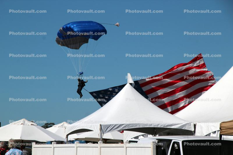 USA Flag, Ram Air Parachute, canopy, skydiving, diving