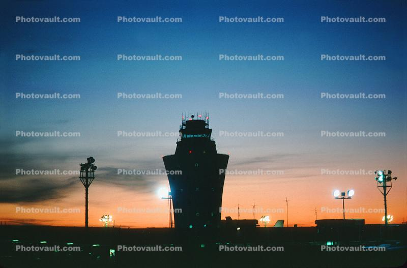 Control Tower, Sunset, Sky, 1984, 1980s