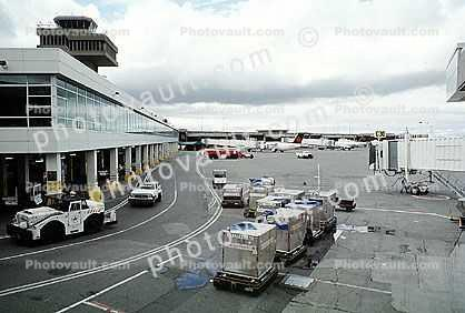 Control Tower, Air Cargo Pallets, Carts, building, tow tractor
