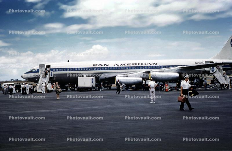 N730PA, Boeing 707, Pan American Airlines PAA, Manila Airport, Philippines, 1960s