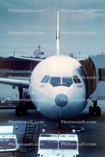 HS-TAX, Thepsatri, Thai Airlines, Airbus A300B4-622R, pushertug, pushback tug, tractor, April 4 1982