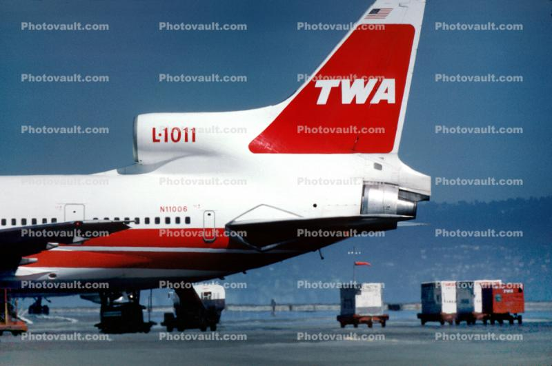 Trans World Airlines, TWA, Lockheed L-1011-1, (SFO), N11006, Lockheed L-1011-385-1, TriStar 1, September 26, 1982, 1980's, RB211