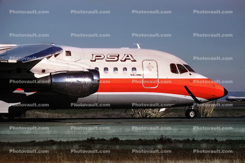N352PS, The Smile of Redmond, PSA, Pacific Southwest Airlines, BAe 146-200, (SFO)