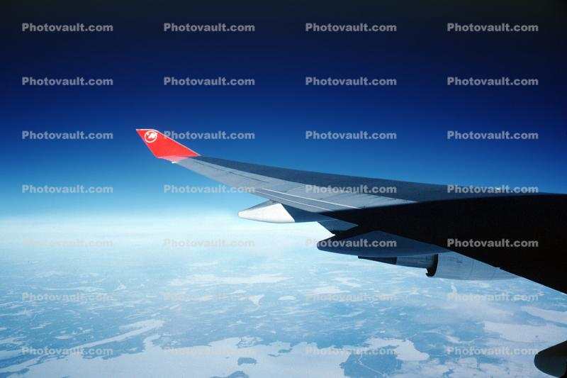 Airbus A340, Northwest Airlines NWA, Lone Wing in Flight