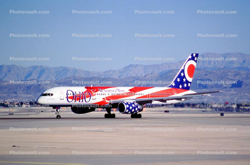 "America West Airlines AWE, N905AW, ""City of Columbus"" Ohio, Boeing 757-2S7, RB211-535 E4, RB211"