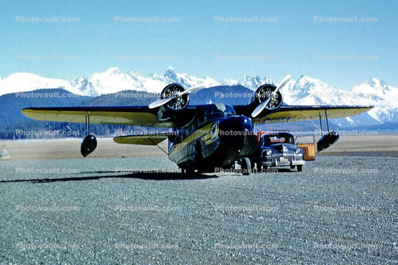 Haines, Alaska Airlines ASA, car, automobile, vehicle, 1950s
