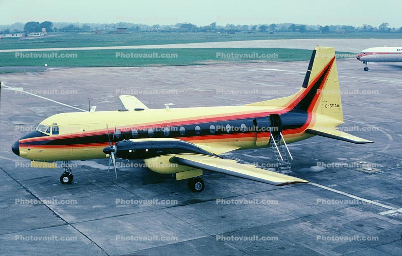 C-GMAA, Hawker Siddeley 748-214 Sr2A, Austin Airways, Manchester Airport, England, 1976, 1970s