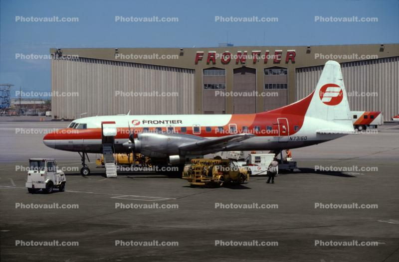 N73160, Frontier Airlines Hangar, Denver Stapleton, May 1982, 1980s
