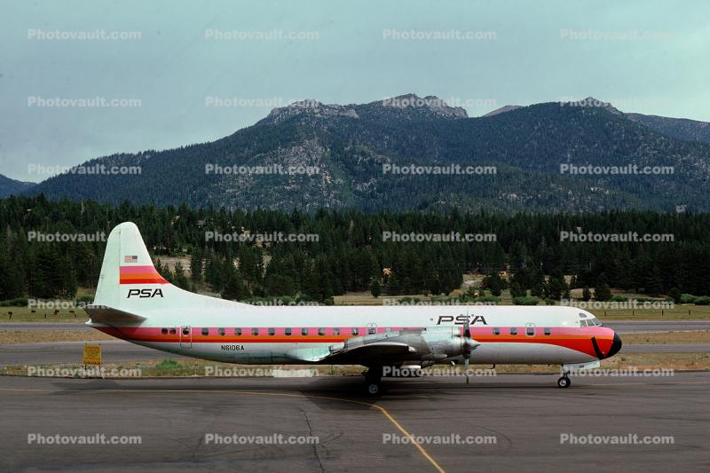 N6106A, Smileliner, Lockheed L-188A Electra, California, Annie, Lake Tahoe Airport TVL