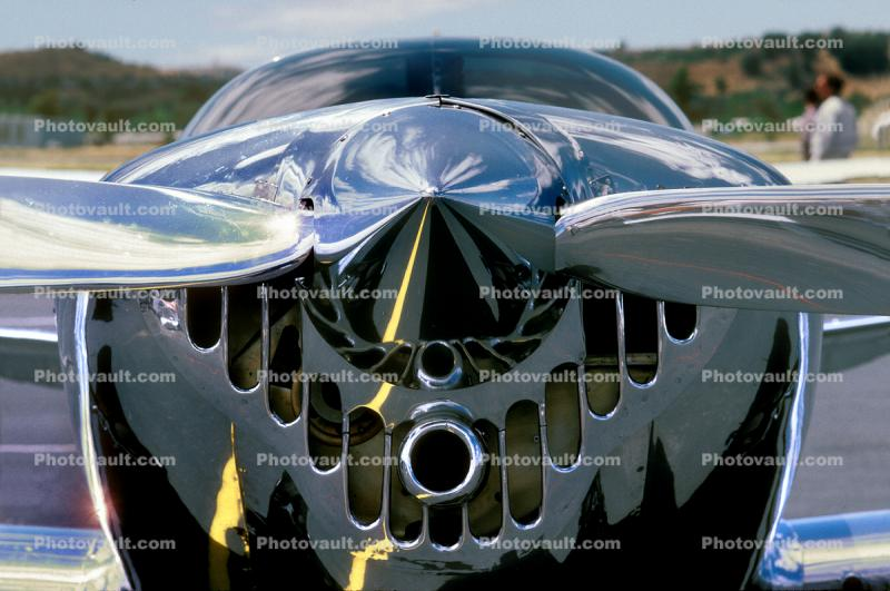 Chrome Reflection of an Ercoupe Propeller Spinner