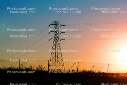 Transmission Towers, Pylons, Sunset