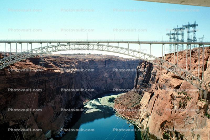 Glen Canyon Dam bridge, steel arch bridge, US Highway 89, truss, Page, Arizona