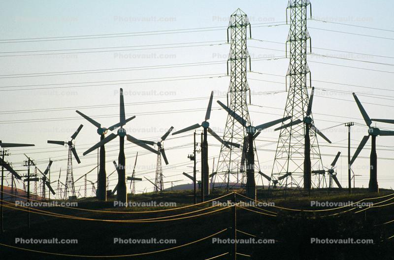 Altamont Pass, Transmission Towers, Pylons, Hills, Wind farms