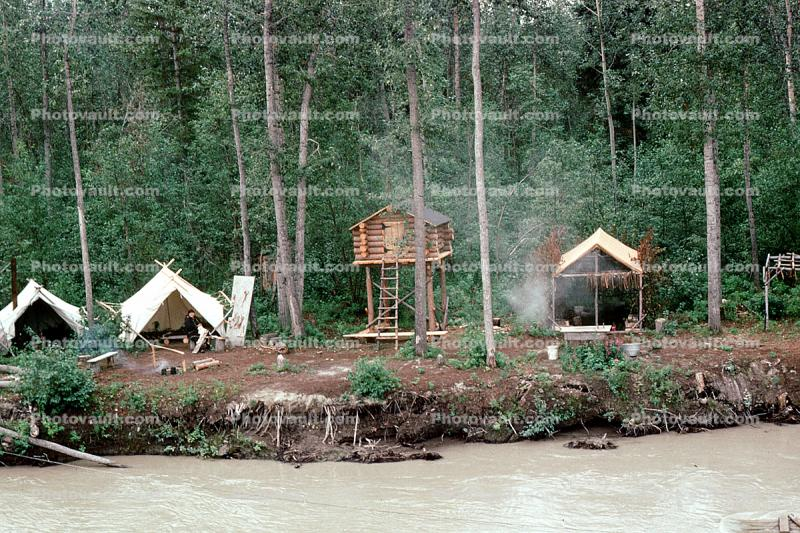 tents, house on stilts, log cabin, Tanana River, Fairbanks