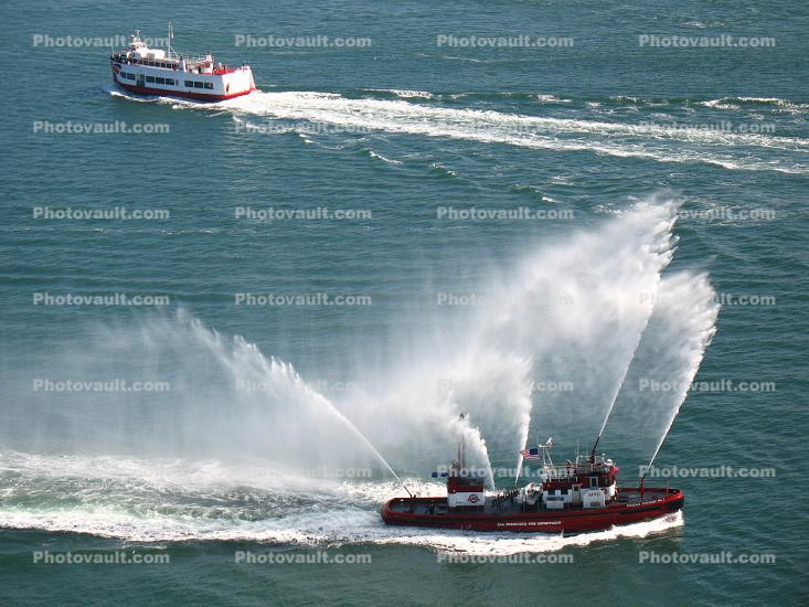 Fireboat Spraying Water, Phoenix Fireboat No.1, SFFD, San Francisco Fire Department
