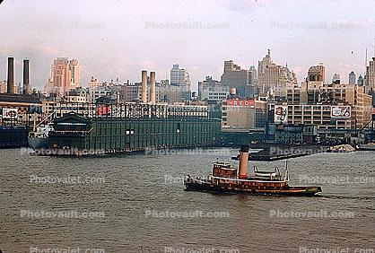 Tugboat, Dock, Harbor, Furness Lines Pier, Canada Dry Billboard, skyline, cityscape, 1950s