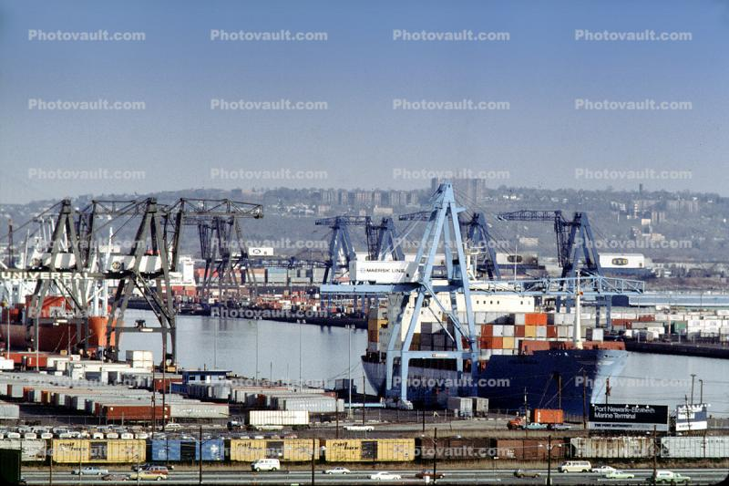 Maersk Containership, Port Newark, Cranes, Loading, Unloading, Dock, Harbor, Adrian Maersk, Containership, Gantry Crane, IMO: 9260457