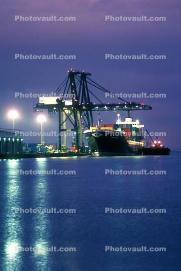 Charlotte Lykes, San Francisco Bay, California, Gantry Crane, Dock, Harbor, Lykes Lines, IMO:	6821676, night